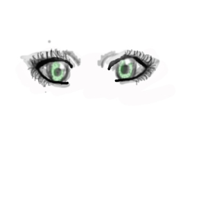 The eyes are green because I didn't realize that I couldn't add color until it was too late.